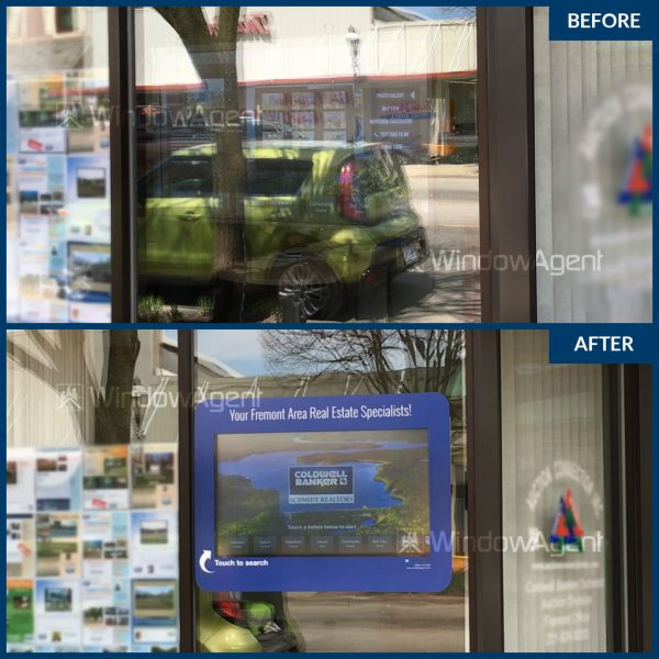 Anti-glare-film on window before-after